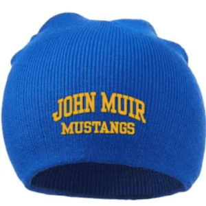 Blue John Muir Beanie with yellow embroidery
